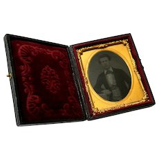 Civil War Era Tintype Photograph in Elaborate Case with Clasp Hand Tinted