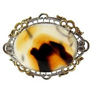 Art Deco Sterling and Gold Vermeil Dendrite Agate Brooch/Pin - Hallmarked