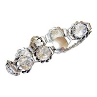 Art Deco Faceted Sterling Rock Quartz Crystal Bracelet - Hallmarked