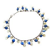 Czech Iridescent Blue glass and Mother-of-pearl Dangle Brass Necklace