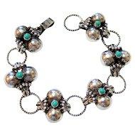 Sterling Silver Handmade Turquoise Color Stone Bracelet - Hallmarked