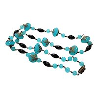 Czech Sea Blue Black and Brass Linked Necklace
