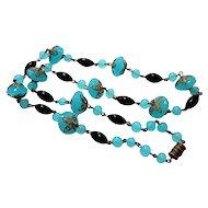 Czech Sea Blue Black and Brass Linked Necklace