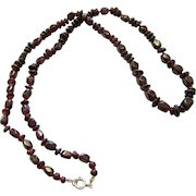 Rhodolite Garnet Bead Necklace with Sterling Silver Bolt Ring Clasp