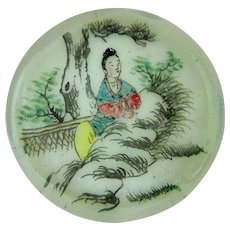 Rare Antique Asian Hand Painted Porcelain Blown Glass Paperweight