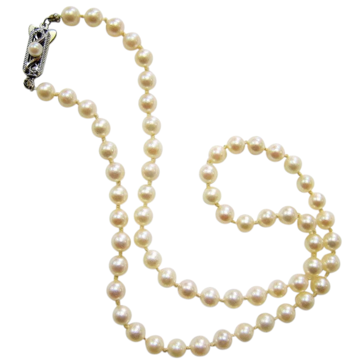 a685b0fb58964 Mikimoto Saltwater Akoya Pearl Necklace with Sterling Clasp