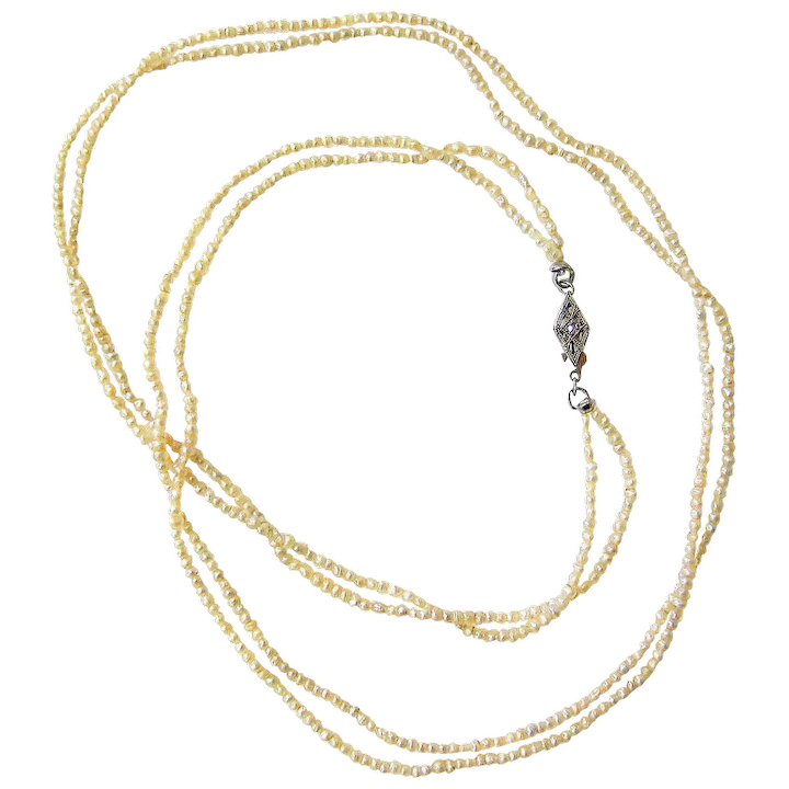 Antique Natural Seed Pearl Necklace