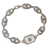 Art Deco 10K White Gold Camphor Diamond Bracelet
