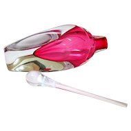 Hand Blown Cranberry and Clear Glass Perfume Bottle Signed