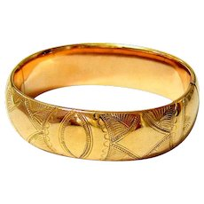 Antique Edwardian 10KT Rolled Gold Etched Bangle Bracelet - Signed