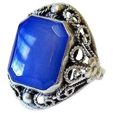 Art Deco Blue Chalcedony Sterling Silver Ring