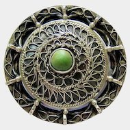 Arts and Crafts Continental Silver and Cabochon Sugar loaf Turquoise Brooch Pin