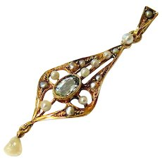 Art Nouveau Rosy 14k Gold Aquamarine Seed pearl Pendant