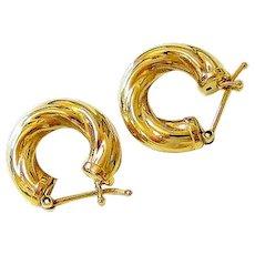 Classic Italian 14 Kt Yellow gold Twist Hoop Earrings