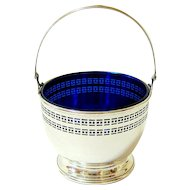 Antique Pierced Ribbed Sterling Silver Cobalt Blue Glass Basket - Hallmarked and Back Stamped