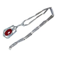 Antique Carnelian Marcasite Sterling Silver lavalier Necklace