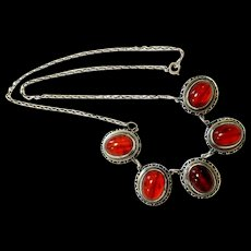 Rare Arts and Crafts Hand-crafted Cognac Bakelite Sterling Silver Necklace