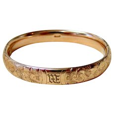 Antique 10KT Rosy Rolled Gold Etched Bangle Bracelet - Signed