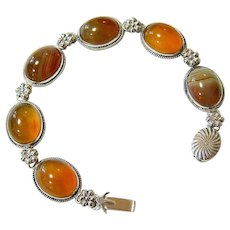 Antique Scottish Banded Agate Sterling Silver Bracelet