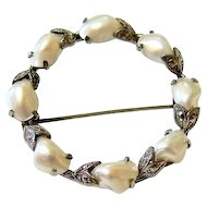 Arts and Crafts 10K White Gold Baroque pearl Brooch