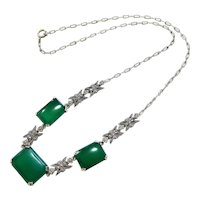 Rare Edwardian Chrysoprase Marcasite Sterling Silver Necklace