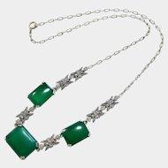 Rare Edwardian Chrysoprase Marcasite Sterling Silver Necklace