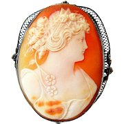 Antique Victorian Large Sterling Carnelian Shell Cameo Brooch Pendant
