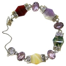 Antique Scottish banded and Moss agate Carnelian and Amethyst Sterling Silver Bracelet