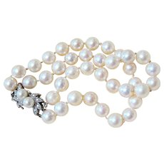 14K White Gold Diamond Double Strand Pearl Bracelet