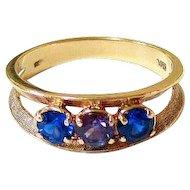 Vintage 10K Yellow Gold Blue Spinel Purple Sapphire Ring Hallmarked