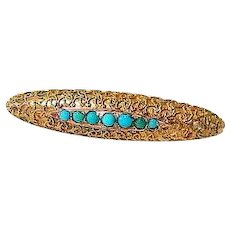 Antique Turquoise 14K Yellow Gold Victorian Etruscan Revival Brooch Pin