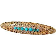Antique Turquoise 14kt Yellow Gold Victorian Etruscan Revival Brooch Pin