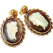 Edwardian 10KT Yellow Gold Mother of Pearl and Abalone Shell Cameo Drop Earrings