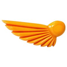 Deeply Carved Large Butterscotch Bakelite Brooch Pin