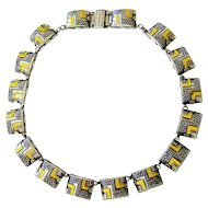 Art Deco Machine Age Enamel Chrome Necklace