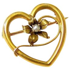 Edwardian 10K Rosy Gold Seed Pearl Heart Brooch Pin