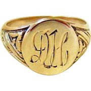 Art Deco 10KT Yellow Gold Signet Ring