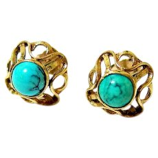 Antique European 14K Yellow Gold Spider Vein Turquoise Earrings Pierced