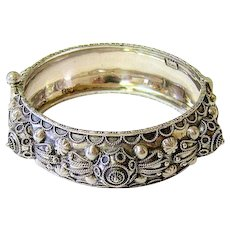 Antique Etruscan Revival Coin Silver Bangle Bracelet Pin Closure