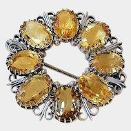 Antique European Citrine Filigree Sterling Silver Brooch Pin