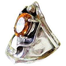 Artisan Modernist Sterling Silver Citrine Ring