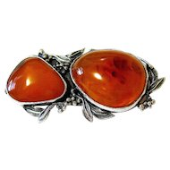 Baltic Honey Amber Sterling Large Brooch Pin Signed Hallmarked