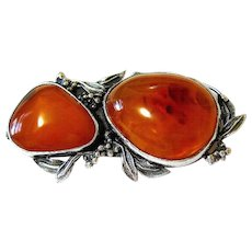 Baltic Honey Amber Sterling Large Brooch Pin Signed and Hallmarked