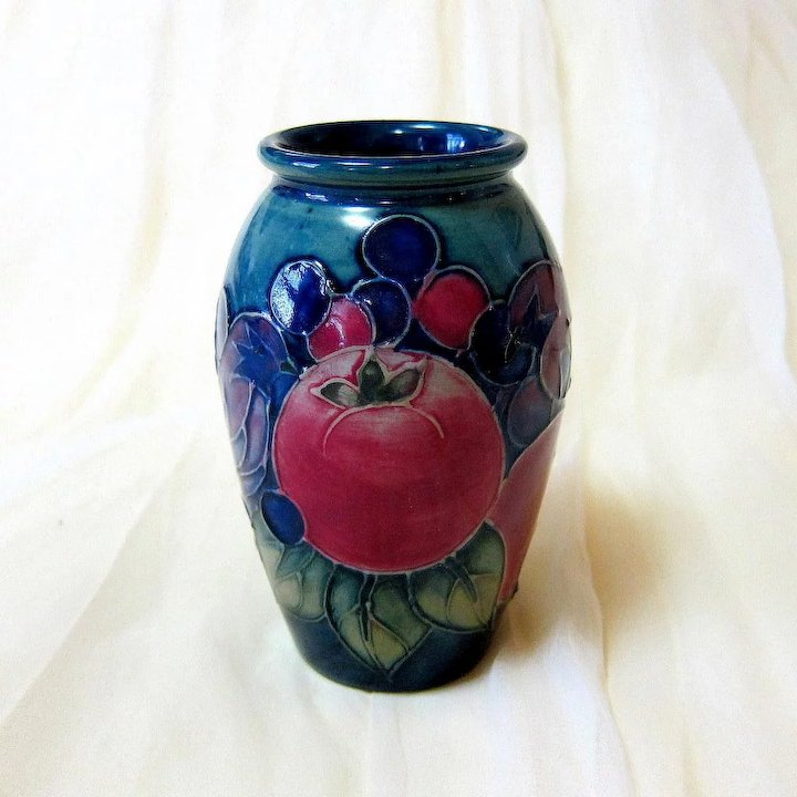 Moorcroft Finches Pomegranate Vase By Sally Tuffin Vintage Vistas