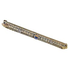 Art Deco 14K yellow Gold Sapphire and Diamond Brooch Pin