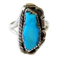 Navajo Sterling Silver Turquoise Ring Signed