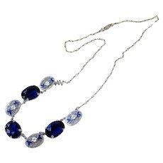 Art Deco Sapphire Blue Crystal Enamel Sterling Silver Necklace