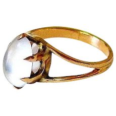 Antique Victorian 10K Rosy Gold Oval Moonstone Ring