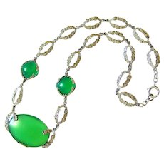Antique Translucent Chrysoprase Sterling Silver Lavalier Necklace
