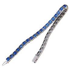 Art Deco Sterling Silver Square Step-cut Sapphire Paste Bracelet Signed Hallmarked